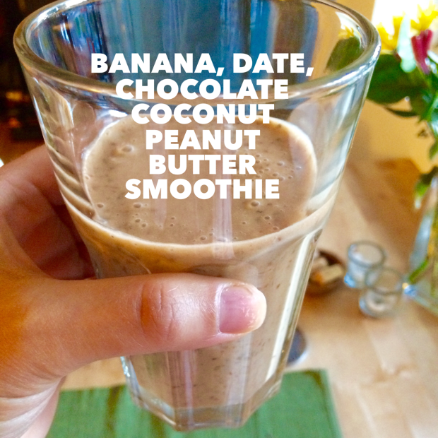Banana Date Chocolate Coconut Peanut Butter Smoothie Recipe | THE REAL LIFE BLOG | food, healthy, smoothie, fitness, running, recipes