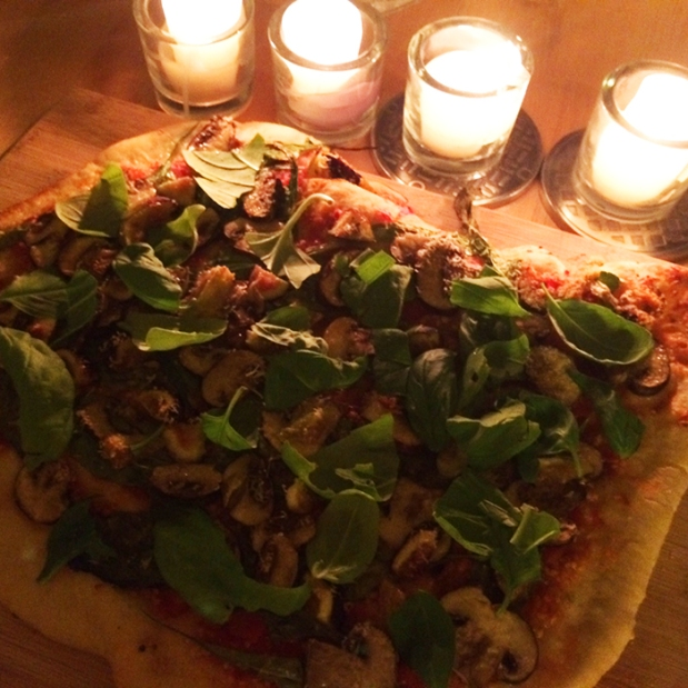 pizza by candlelight