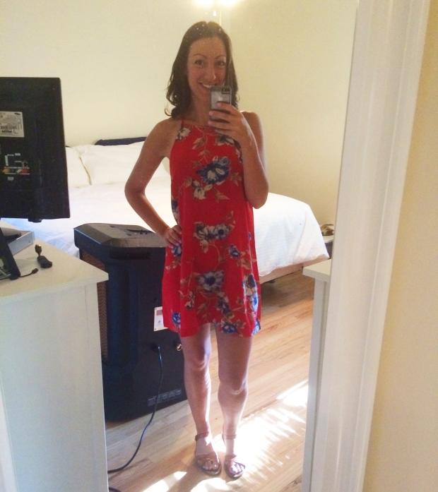 red floral dress, forever 21