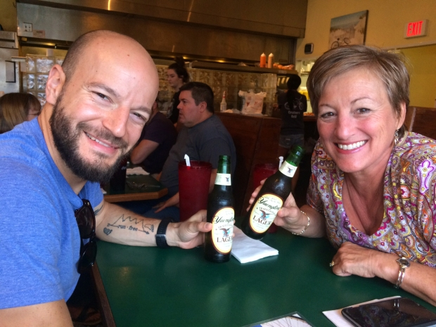 mom-and-nick-drinking-yuengling-at-cruisers-grill-jacksonville-beach-florida