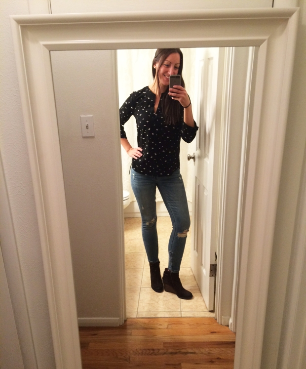 Stitch Fix #6: Patterned Blouse, Skinny Jeans, Brown Suede Booties | THE REAL LIFE Blog | fashion, fitness, food, lifestyle, Colorado