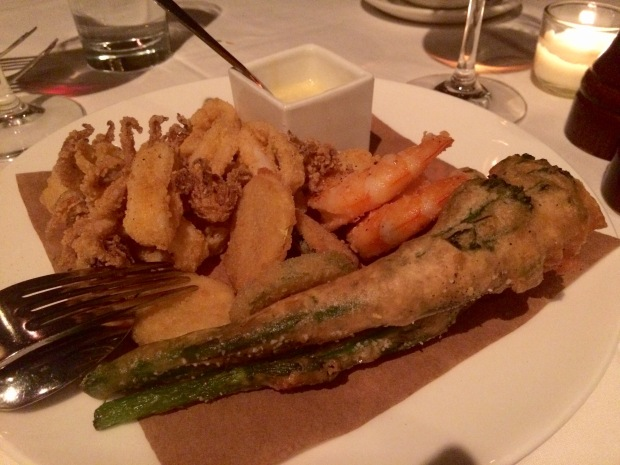 Fritto misto lightly fried calamari, gulf prawns, tempura broccolini & zucchini, grilled lemon crema