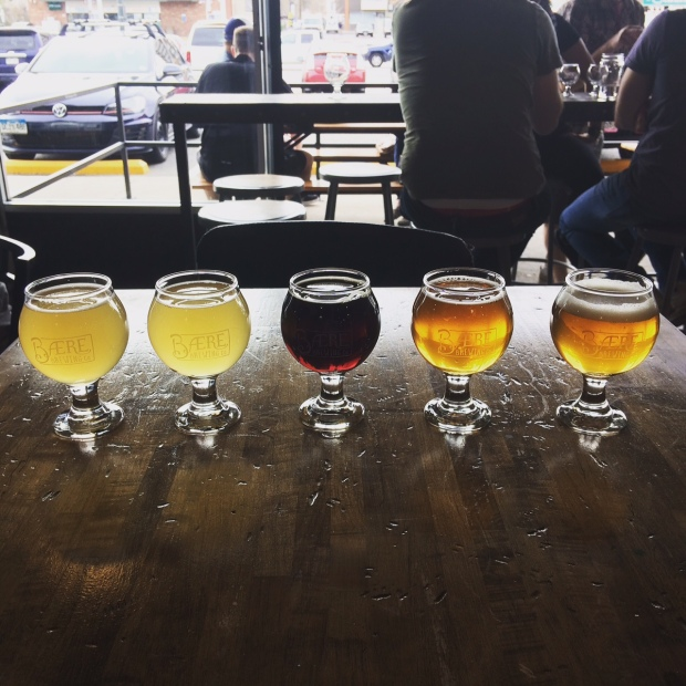 A flight of beer tasting at Baere Brewing on South Broadway, Denver Co