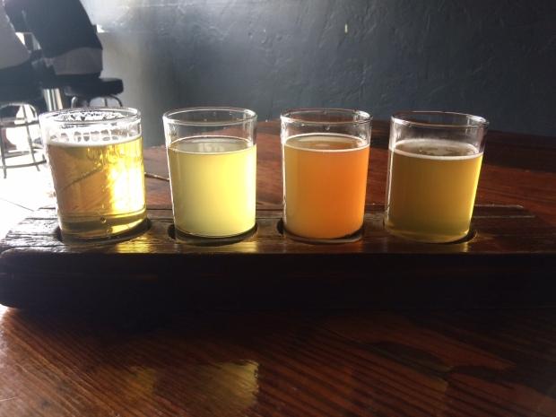 A flight of beer tasting at Trve Brewing, South Broadway, Denver CO