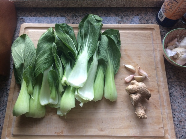 Bok choy, garlic cloves, ginger