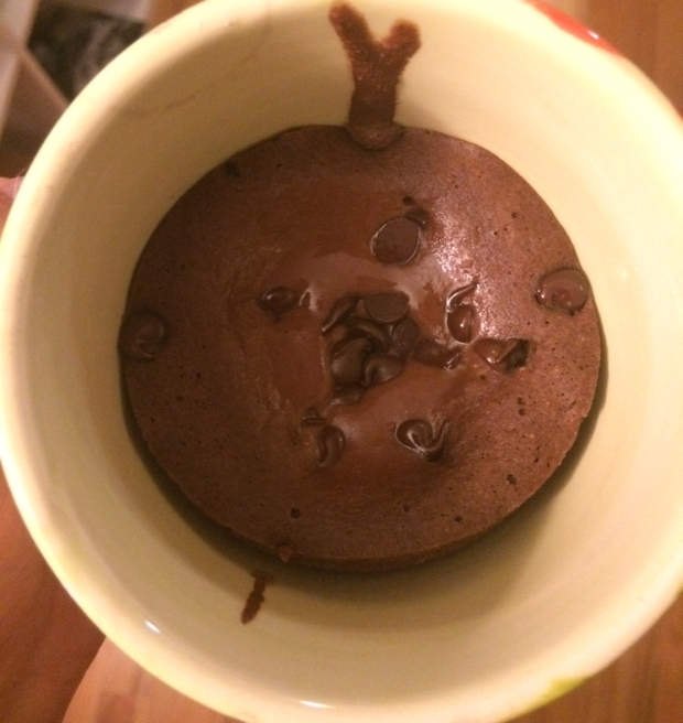 Chocolate protein cake in a mug from Women's Running Magazine