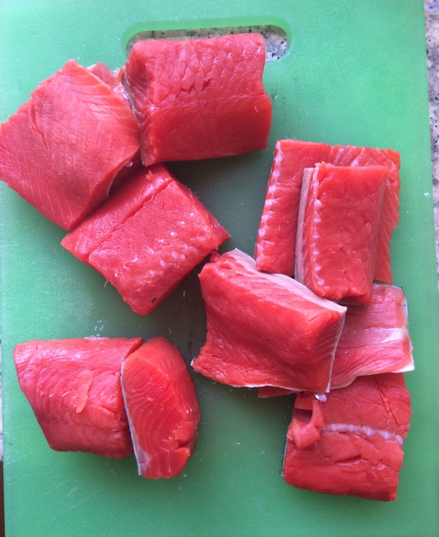 Chunks of salmon