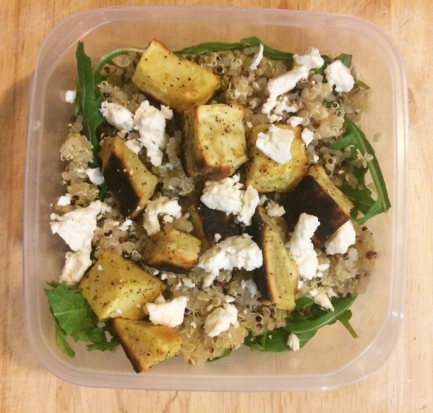 Delicious, easy healthy lunch ideas, roasted sweet potato, feta cheese, arugula, and quinoa salad