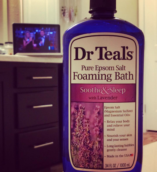 Dr. Teal's Foaming Bath with Lavendar in the bath tub, pamper yourself, spa day at home