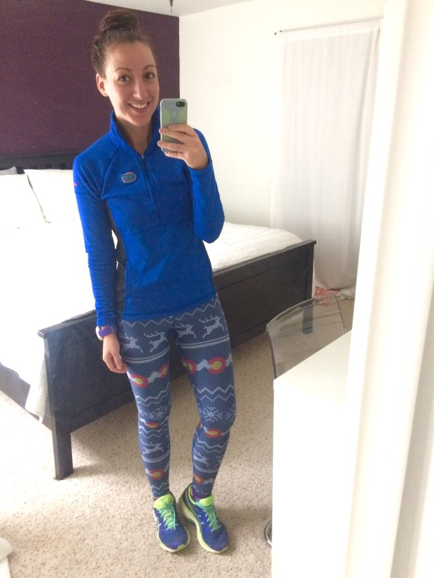 Florida Gators pullover and Christmas Colorado Threads leggings, running gear