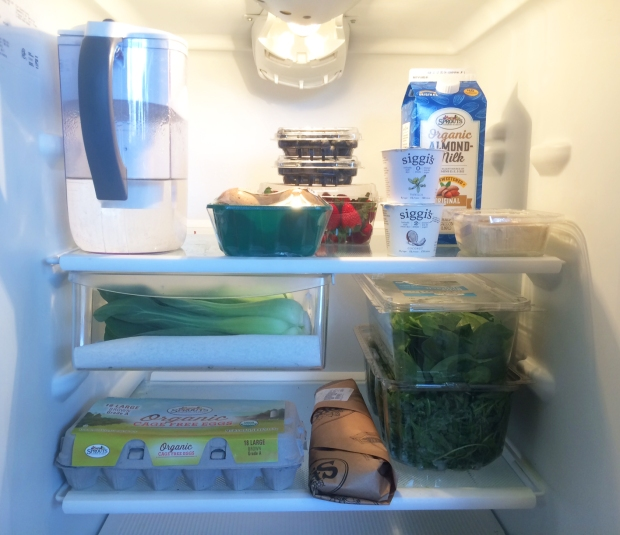Fridge full of meal prep foods, health eating