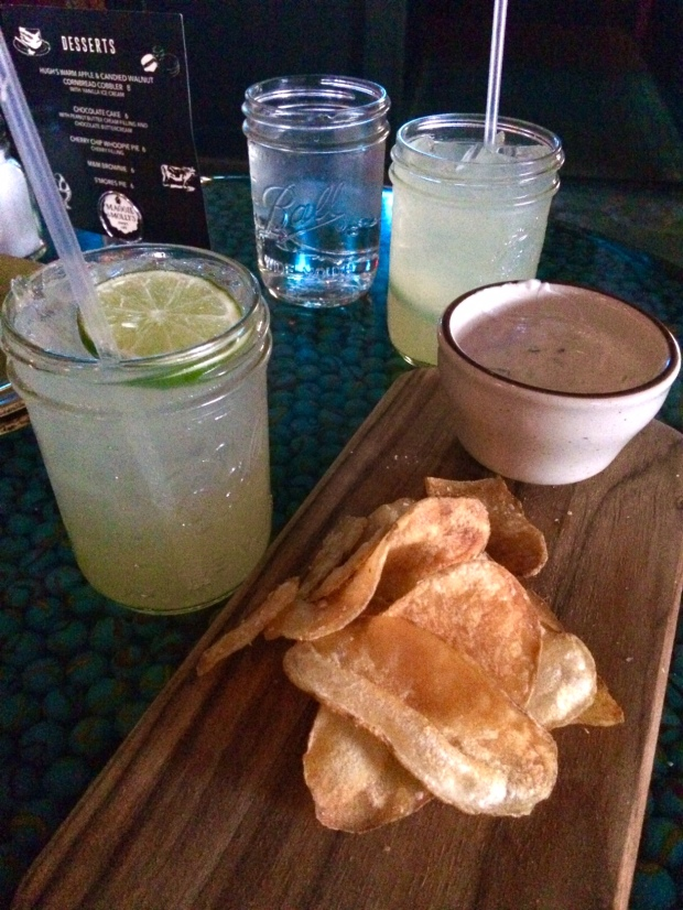 Moscow Mules and chips and dip at Punch Bowl Social on South Broadway, Denver CO