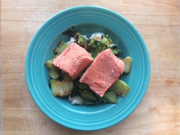 Poached salmon, bok choy and white rice, savory and healthy recipe