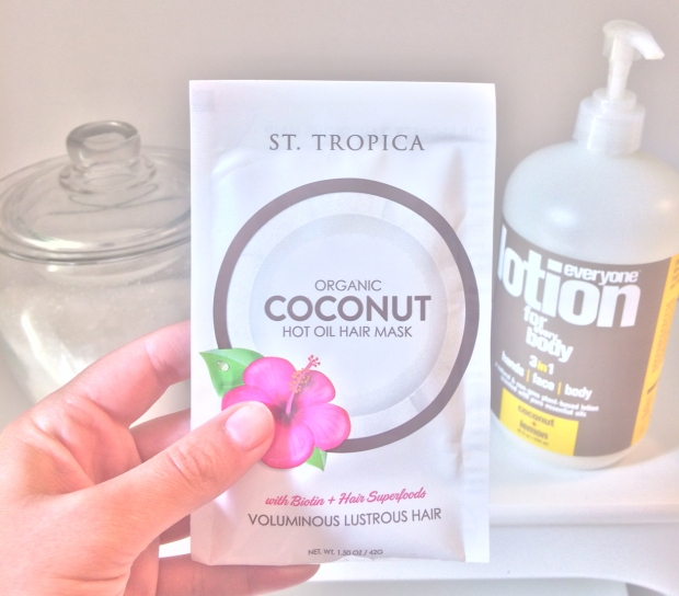 St. Tropica organic coconut hot oil hair mask with biotin and hair superfoods, spa day at home