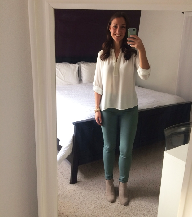 Stitch Fix blouse, Gap green pants, beige booties from Target