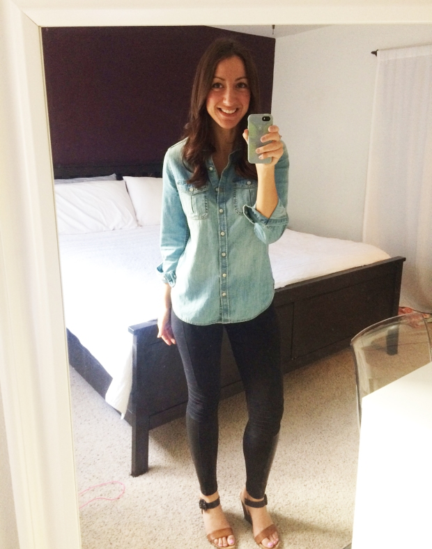 Stitch Fix moto leggings, denim button up from Target.JPG
