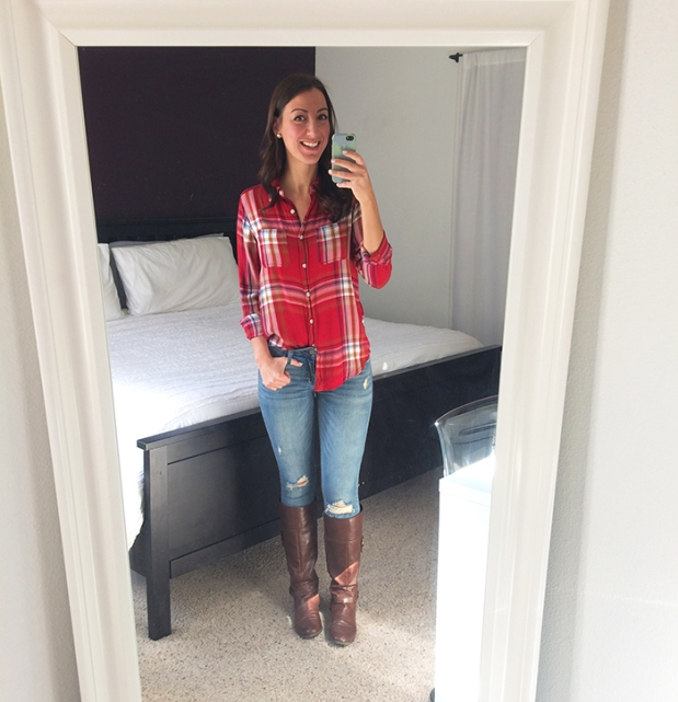 thursday-outfit-outfits-of-the-week-outfit-of-the-day-flannet-shirt-target-ripped-jeans-stitch-fix-boots-dsw