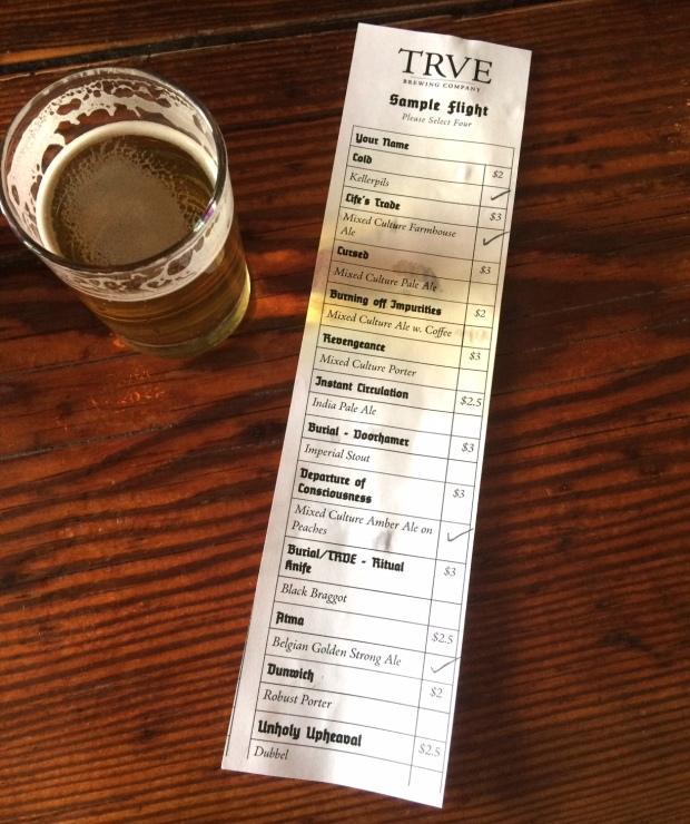 TRVE Brewing Company sample flight, South Broadway breweries, Denver, Colorado