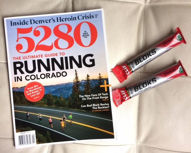 5280 Magazine the ultimat guide to running in Coloado, Clif shot boks, the weekend of Platte River Half Marathon.jpg