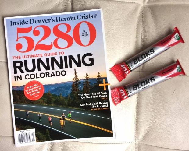 5280 Magazine the ultimat guide to running in Coloado, Clif shot boks, the weekend of Platte River Half Marathon.jpg