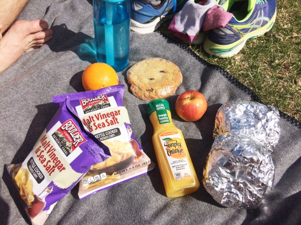 A post-long-run Moe's Bagels picnic at Wash Park in Denver, Colorado