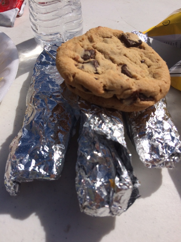 Breakfast burritos and cookies at the finish of the Platte River Half Marathon