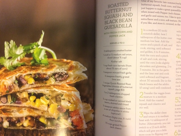 Butternut squash and black bean quesadilla from Simple Green Suppers cookbook