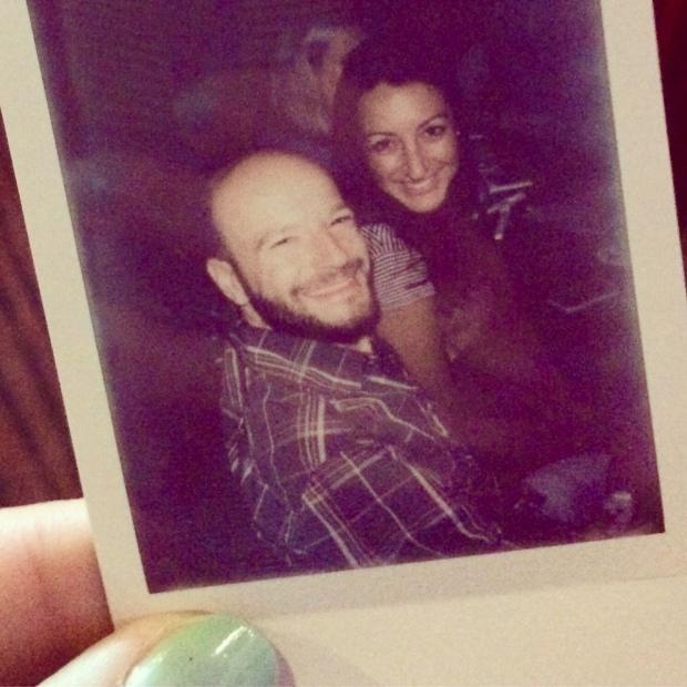 Polaroid picture of us at karaoke at Armida's in Denver, the night before the Platte River Half Marathon