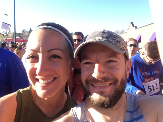 Race selfie at the start line of the Platte River Half Marathon