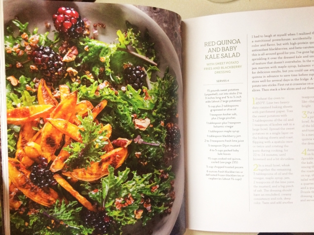 Red Quinoa and baby kale salad with sweet potato fries and blackberry dressing