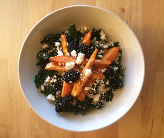 The final product, Red Quinoa and baby kale salad with sweet potato fries and blackberry dressing, and added feta cheese