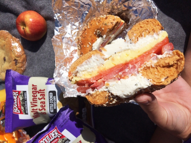 The Manhattan on a jalapeno bagel from Moe's Bagels in Denver, Colorad, a post long run picnic at Wash Park