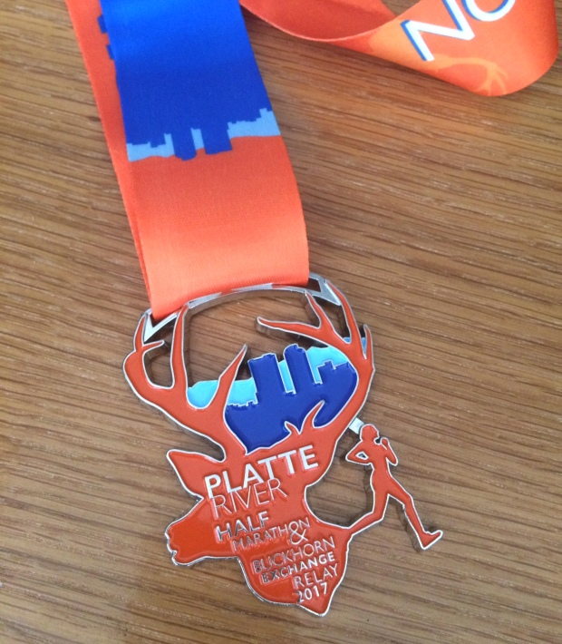 THe Platte River Half Marathon finisher medal