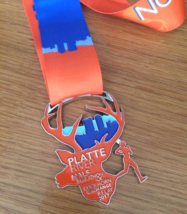 THe Platte River Half Marathon finisher medal