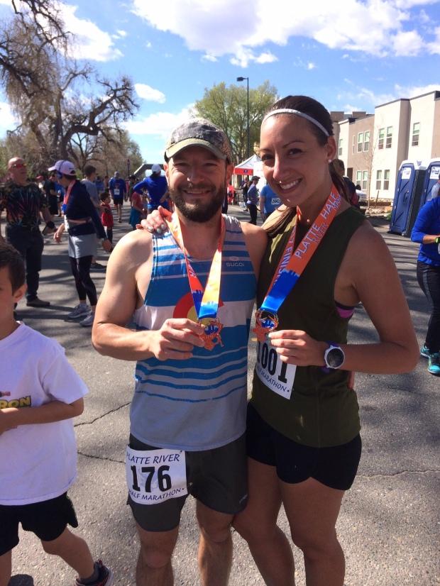 Us at the finish of the Platte River Half Marathon