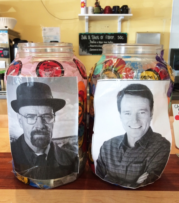 Walt Breaking Bad tip jars at Moe's Bagels, Denver, Colorado