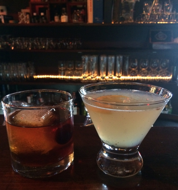 His and hers drinks at Dogwood Cocktail Cabin Crested Butte