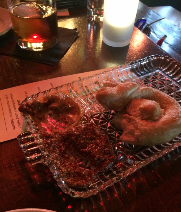 Pretzel with beer cheese and mustard, Dogwood Cocktail Cabin, Crested Butte